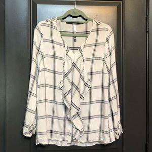 Timeless windowpane plaid blouse, ruffle detail